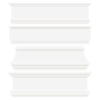 白い背景で隔離の白いプラスチックまたは木製のベースボードのセットです。