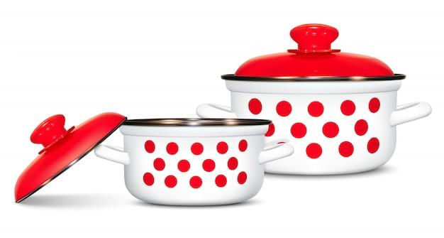 赤エンドウ豆のパターンを持つ白い鍋のセット。料理。台所用品
