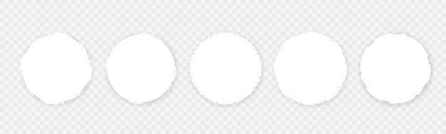 白いラフエッジグランジサークルフレームのセット