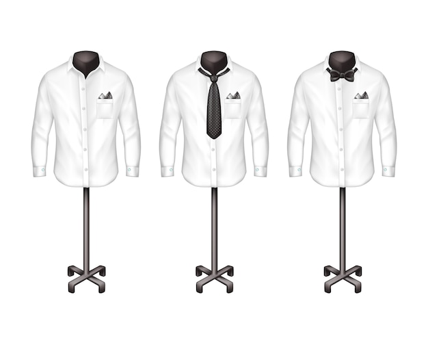 Набор белых рубашек с галстуком, галстук-бабочка на подставках, вешалки спереди