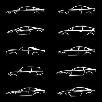 Набор автомобилей белый силуэт на черном фоне