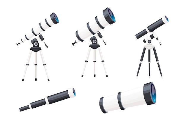 Набор белых телескопов с подставками и без плоских векторных иллюстраций, изолированных на белом фоне.