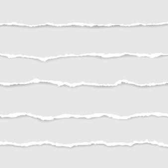 흰색 찢어진 된 종이의 집합입니다. 그림자와 그림