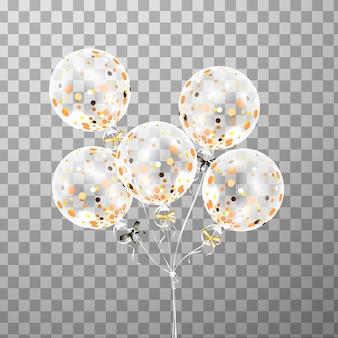 空気で分離された紙吹雪と白い透明な風船のセットです。イベントデザインのフロストパーティーバルーン。誕生日、記念日、お祝いのパーティーの装飾。透明バルーンを輝かせます。