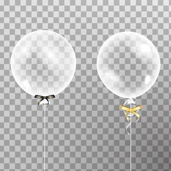 空気で分離された弓で白い透明なヘリウムバルーンのセット。誕生日、記念日、お祝いのパーティーの装飾。透明バルーンを輝かせます。