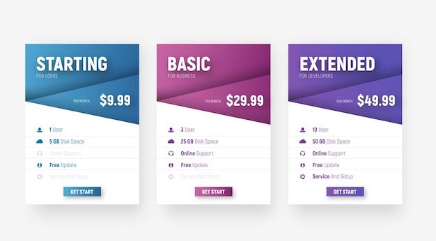Набор белых веб-таблиц цен с диагональными элементами с градиентом названия тарифа и стоимости.