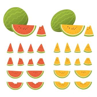 白い背景で分離された種子と全体とスライスしたスイカのセットです。形や色が異なる新鮮な果物(赤、黄)。図。