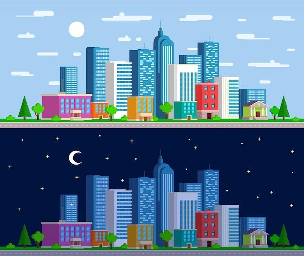 넓은 파노라마 도시 풍경 세트
