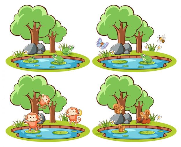 연못과 나무와 공원에서 야생 동물 세트