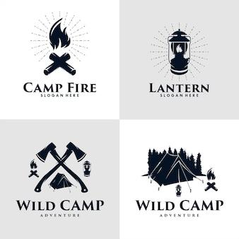 ワイルドキャンプ、ファイヤーキャンプ、ランタンのロゴデザインのセット