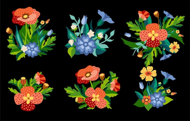 장식용 플랫 스타일의 녹색 잎이 있는 양귀비와 수레 국화의 야생 꽃 꽃다발 세트.