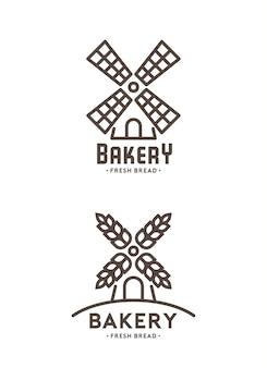 풍차 로고의 집합입니다. 흰색 배경에 빵집 엠블럼 디자인 프리미엄 벡터