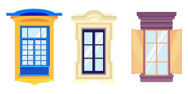 Набор окон в мультяшном стиле. красивые элементы архитектуры.