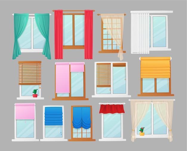 커튼과 블라인드 및 롤러 블라인드, 인테리어 디자인 요소가있는 창 세트. 흰색 pvc 또는 나무 갈색 문턱, 패브릭 커튼이있는 플라스틱 프레임