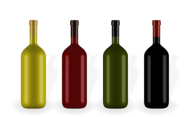 白で隔離のワインボトルのセット