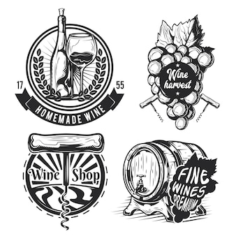 Набор элементов виноделия (бочка, виноград, бутылка и др.), эмблемы, этикетки, значки, логотипы.