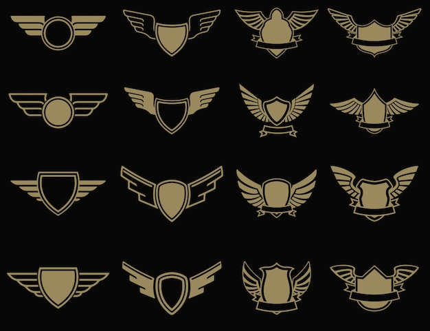 黄金のスタイルの翼のあるエンブレムのセット。 、ラベル、エンブレム、記号の要素。図。