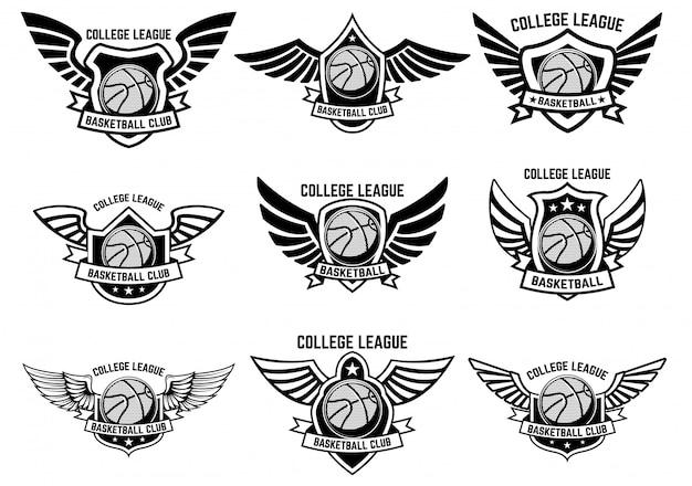 バスケットボールの翼のあるエンブレムのセットです。ロゴ、ラベル、エンブレム、記号の要素。図