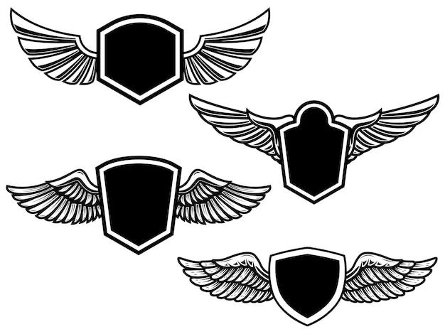 翼のあるエンブレムのセット