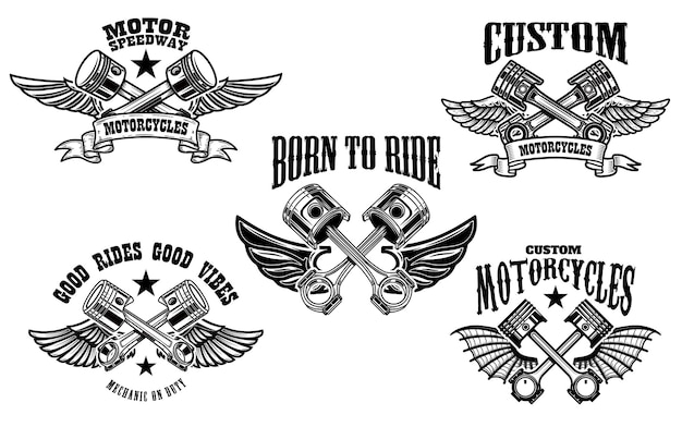 Набор крылатых мотоциклов и автомобильных поршней