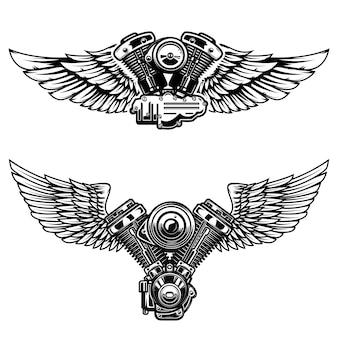 Комплект крылатого мотоциклетного двигателя. элементы для плаката, эмблемы, знака, логотипа, этикетки, эмблемы. иллюстрация
