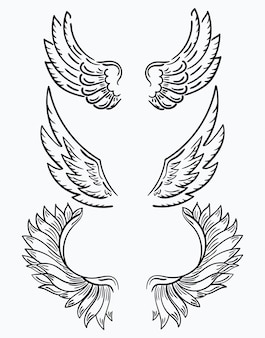 翼のセットです。クリップアート用の白黒翼のコレクション。抽象的な天使の羽。