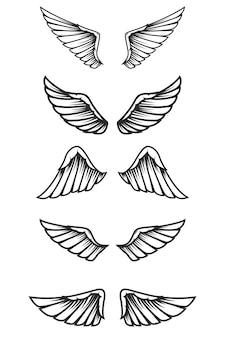 白い背景の上の翼のセットです。ロゴ、ラベル、エンブレム、記号の要素。画像