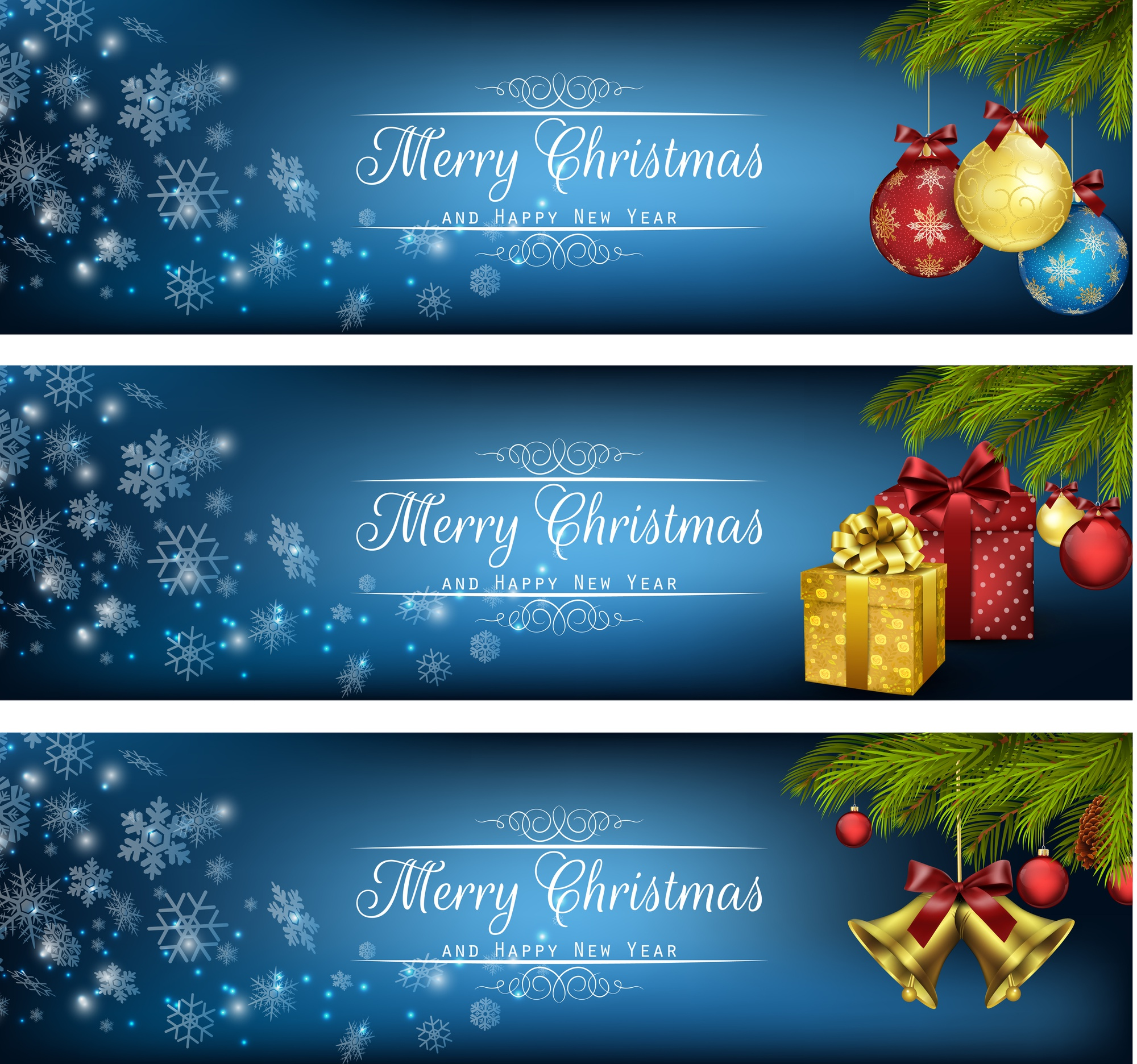 Set of winter christmas banners