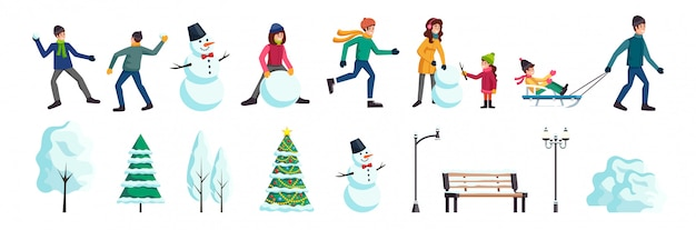Набор зимних городских персонажей и особенностей