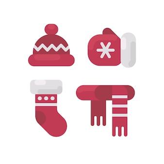 冬の洋服フラットイラストのセット。帽子、ミトン、ストッキング、スカーフ。クリスマスフラットアイコン