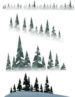 白い背景の図に冬の常緑針葉樹林の木のセット