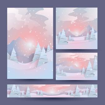 夕方の冬の森の風景のセット