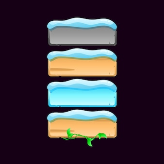 Набор значка кнопки доски пользовательского интерфейса зимней игры. камень, дерево, лист, текстура снега для иллюстрации элементов графического интерфейса