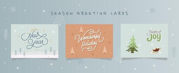 Набор поздравительных открыток зимнего отдыха с иллюстрацией hand_drawn голубых коричневых кремовых цветов.