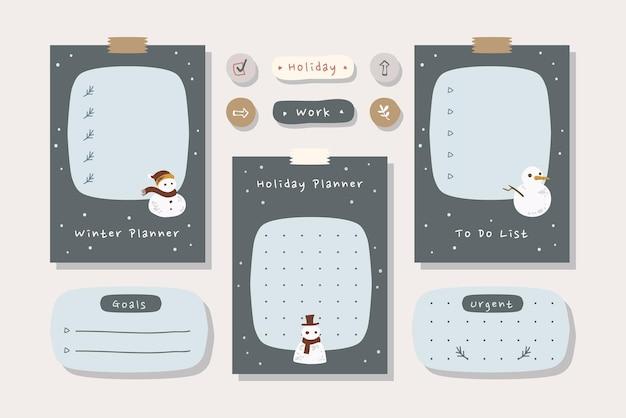 Набор карточек планировщик зимнего отдыха с иллюстрацией hand_drawn черных сине-кремовых цветов.