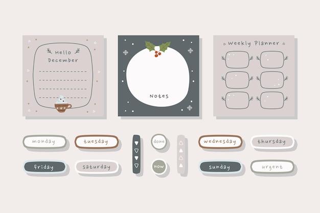 Набор карточек планировщик зимнего отдыха с иллюстрацией hand_drawn черных коричневых кремовых цветов.