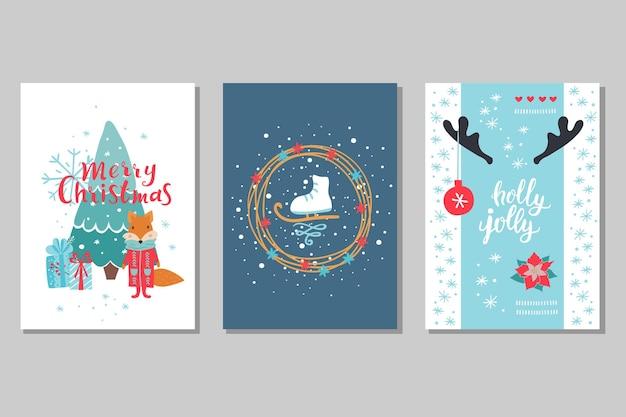 Набор поздравительных открыток зимних праздников. рождественские векторные иллюстрации