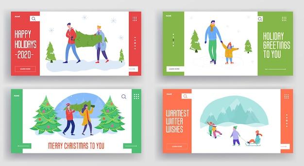 冬の休日のランディングページテンプレートのセット。人々の文字、クリスマスツリー、そりでメリークリスマスと新年あけましておめでとうございますのウェブサイトのレイアウト。カスタマイズされたモバイルwebサイトのフレンズパーティー。