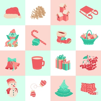 冬のアイコンのセットクリスマス