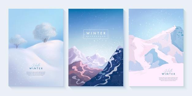 雪の吹きだまり、山、木々と冬の風景のセット