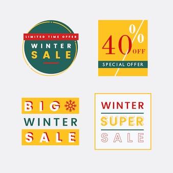 Набор векторов векторов зимних распродаж