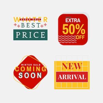 Set of winter sale badge vectors