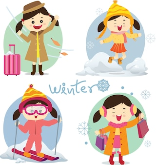 Set of winter season activities.