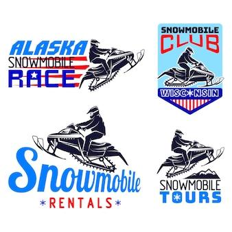 Набор зимних снегоходов эмблем, значков и значков.