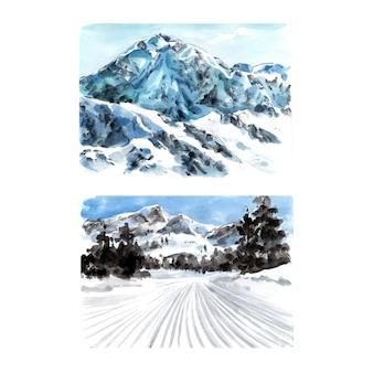 水彩、手描きイラストと冬のスポーツデザインのセットです。