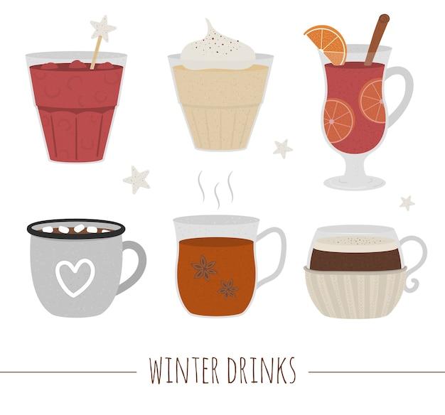 冬の伝統的な飲み物のセットです。ホリデーホットドリンクコレクション。ココア、ホットワイン、コーヒー、紅茶、エッグノッグ、白い背景で隔離のパンチのイラスト。