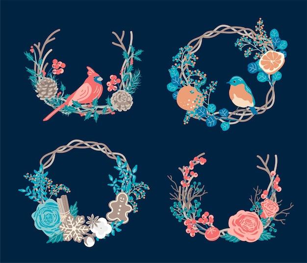 冬の花輪のセット。クリスマスのコンセプト。