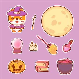 Набор наклеек элементов ведьмы для вечеринки в честь хэллоуина. собака как ведьма, полная луна, волшебная палочка, зелье, летящая метла.