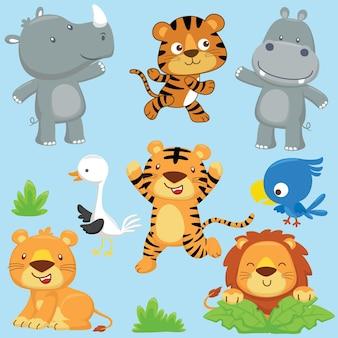 재미있는 동물 만화 세트