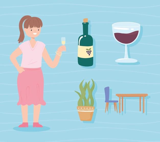 여자와 음료의 세트